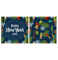 seamless pattern with happy new year 2018 vector image