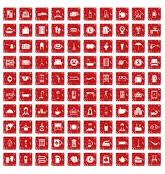 100 inn icons set grunge red vector