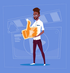 African american man hold thumb up modern video vector
