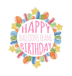 Balloons birthday frame vector