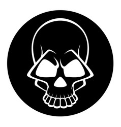 Black and white human skull icon symbol or emblem vector