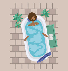 Black man taking a bath tub vector