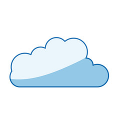 Blue color shading silhouette cloud shape in vector