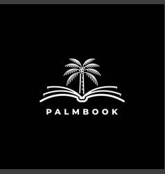 book with palm tree logo design symbol temp vector image