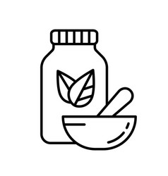 Bottle with two leaves and pestle inside mortar vector