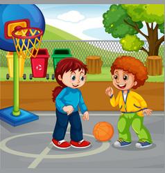 boy and girl playing vector image