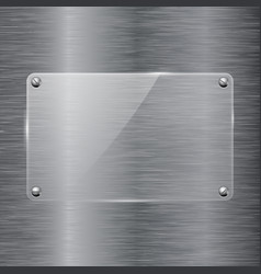 Brushed metal background with glass plate vector