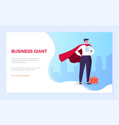 Business giant male with briefcase businessman vector