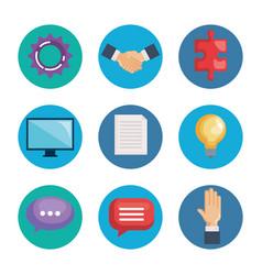 business teamwork set icons vector image