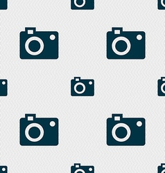 Camera icon sign Seamless pattern with geometric vector