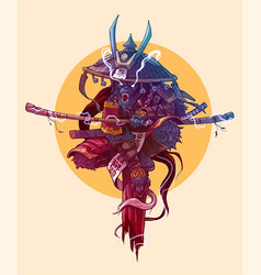 Cartoon angry monkey king samurai character vector