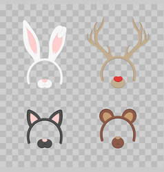 Cartoon cute headband with ears holiday set vector