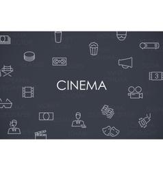 Cinema Thin Line Icons vector