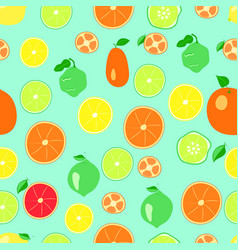 Citrus pattern on a green background vector