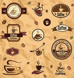 Coffee label emblems collection vector