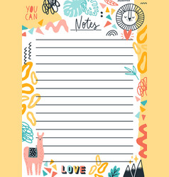 Colorful doodle template for notes flat vector