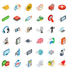 community icons set isometric style vector image