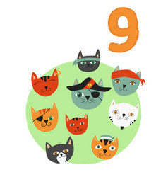 Counting from 1 to 10 number 9 page with colorful vector