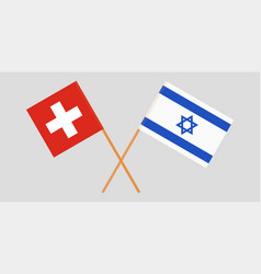 Crossed flags israel and switzerland vector
