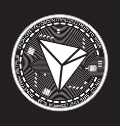 Crypto currency tron black and white symbol vector