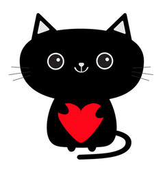 cute black cat icon holding red heart funny vector image