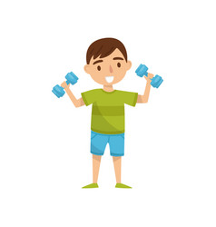 cute boy character exercising with dumbbells kids vector image