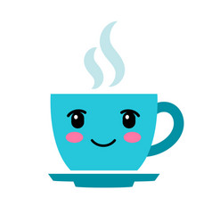 Cute cartoon blue coffee cup with eyes vector