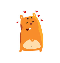 Cute cartoon hamster character in love funny vector