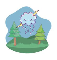 cute landscape cartoon vector image