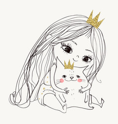 cute little lovely princess girl with kitten vector image