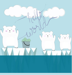 Cute polar bear hello world cartoon vector