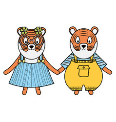 Cute tigers couple childish characters vector