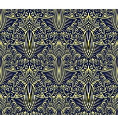Damask seamless pattern repeating background vector