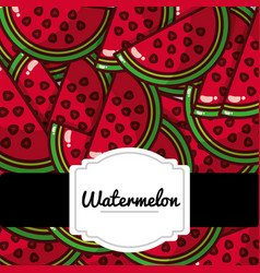 Delicious watermelon fresh fruit label pattern vector
