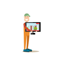 Delivery man in flat style vector