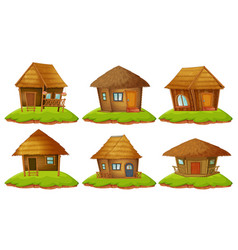 different designs of wooden cottages vector image