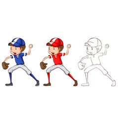 doodle character for baseball player vector image