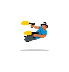 Dual wield sign Man with two guns shoots a jump vector image