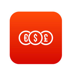 euro dollar pound coin icon digital red vector image