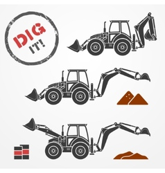 Excavator silhouettes vector image