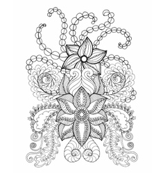 Fantasy flowers coloring page vector image