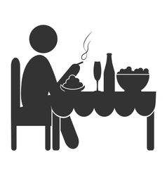 Flat dinner icon with cigarette isolated on white vector image