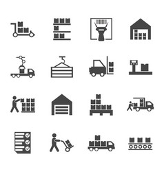 Flat warehouse logistics icons collection vector