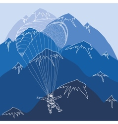 Flying sportsmen paragliding in mountains vector