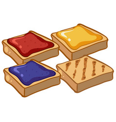 four pieces of toasts with jam vector image