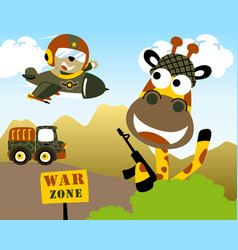 Funny animals cartoon playing war vector