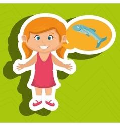 Girl cartoon food fish fresh vector