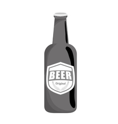 Grayscale bottle of beer icon design vector