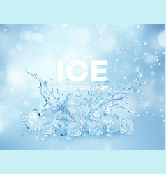 group ice transparent clear cubes in water vector image