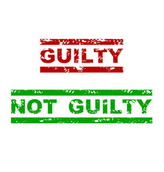guilty and not guilty rubber stamp vector image
